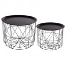 coffee table metal matt black x2, black