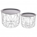 coffee table metal matt gray x2, gray