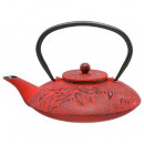 red bamboo tea pot 0.8l