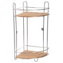 Shelf 2 trays metal + bambo