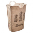 laundry basket 58l pineapple, white