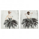 lienzo impreso + pedrería bailarina de 48x48, 2 ve