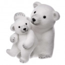decoration bear + baby standing 28cm