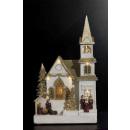 Weihnachtsdorf hell goldene Kirche / mv / ms, m