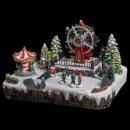 carrusel de la aldea de la Navidad rueda de la luz