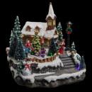 nagyker Dekoráció: karácsonyi falu templom mesterséges ...