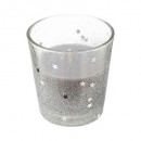 candle in tealight glass h8cm glitter ar