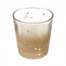 candle in tealight glass h8cm gold glitter