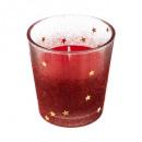 ljus i glas värmeljushållare h8 röd hink 90g