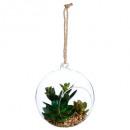 plante artif + boule verre d14 h17, 2-fois assorti