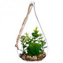 Großhandel Gläser: Pflanze + Tropfen vr h19.5, 2- fach sortiert , grü
