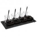aperitivo pizarra conjunto 13 piezas negro, negro