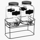 dispensador de bebidas 4l x 2, transparente