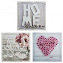 printed canvas heart home 28x28x1.5, 3-fold assort