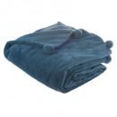 plaid pompons orage 125x150, bleu