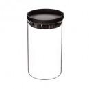 glazen pot + polypropyleen hermet 1l, zwart