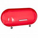 grossiste Aides de cuisine: boite pain metal + pieds rouge, rouge