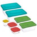 caja rectangular de polipropileno x7, multicolor