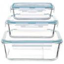 quadratische Glasbox x3 clipeat, blau