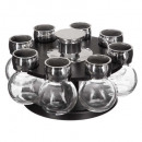 x8 spice jar + rotating stand, black