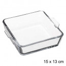 plat mini-vierkant 15cm glas, transparant