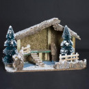 Großhandel Home & Living: Weihnachtskrippe leerer Schaum + beflocktes Holz 2