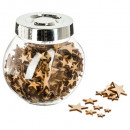 Großhandel Küchenutensilien: Zubehör Holz Deko Stern / Flok Glas, 2-fach a