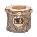 wood tealight holder + glass 3 ass, 3-time assor