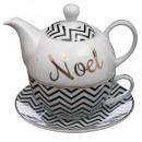 theiere + cup bt bedrucktes Porzellan