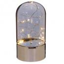 lampe dome verre gris 10led h20, argent