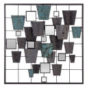 mirror metal wall deco 50x50, multicolored