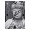 Boeddha glazen klok 25x36, zwart en wit