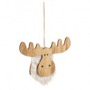 christmas decoration wood + fur reindeer h15cm, 2-