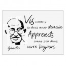 sticker txt 50x70 face gandhi, noir