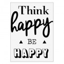 etiqueta engomada del txt 30x40 sea feliz, negro y