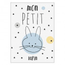 sticker kids 30x40 petit lapin, multicolore