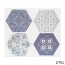 sticker caro 4 hexa blue x2, 2- times assorted , b