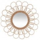 flower rattan mirror d56, medium beige