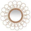espejo de mimbre flor d56, beige medio