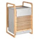 cesta de lavandería de bambú con leche gr