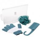 set de ducha guante + peine + esponja, 2- veces su