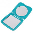 wholesale Make-up Accessoires: square rubber pocket mirror, 3- times assorted , m