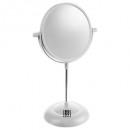 mirror on stand + pvc white, white