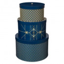 wholesale Small Furniture: boxes round x3 printed art deco