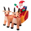 santa inflatable santa claus + reindeer 180 cm