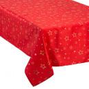 tablecloth taff red + gold star 140x360