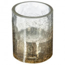 wholesale Drinking Glasses: tealight glass crackle h7.5cm gold