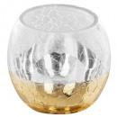 wholesale Drinking Glasses: tealight glass rc craq smoke d8cm gold