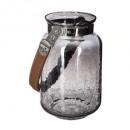 lantern smoke leather handle 20,5cm