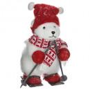 decoration bear hat skis h40cm